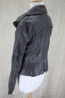 Womens Andrew Marc New York Kendra Slate Grey Leather Jacket Medium $
