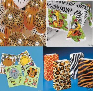 Zoo Animal Print Party Favors Balloon Stickers Jungle