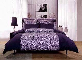 LEOPARD ANIMAL PRINT Purple~QUEEN Size Quilt Doona Cover Set