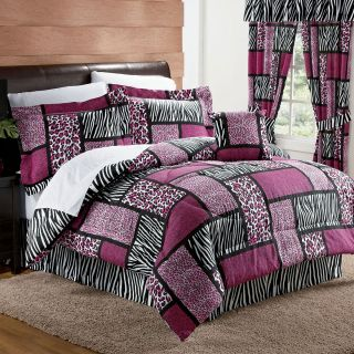 New Pink Leopard Zebra Animal Print Safari Comforter Set Bed Decor