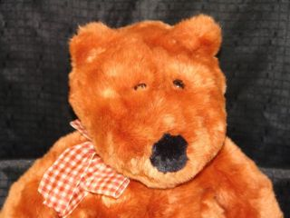 big animal alley brown copper gingham bow plush bear nucite