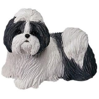 Silver Shih Tzu Dog Statue Replica Figurine Sculpture