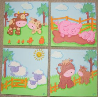 Farmyard Friends Sheep Cow Pig Horse Canvas Paintings
