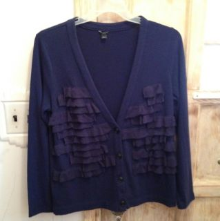 Ann Taylor Navy Blue Ruffle Front Cardigan Size L