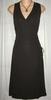Ann Taylor Loft Black Cross Bust Wrap Style Side Tie Jersey Dress 12 L