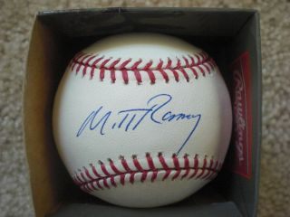 Mitt Romney Signed Major League Baseball JSA Proof