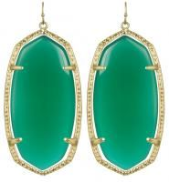 Kendra Scott Danielle Earrings Green Onyx 14k Gold Plated Candy Jewels