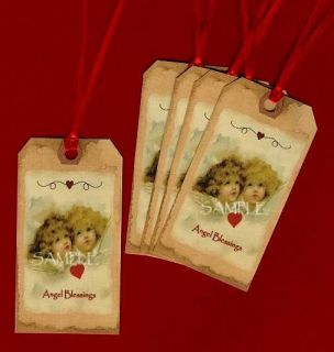 Prim Hang Tags Vtg Angel Blessings Valentines Day