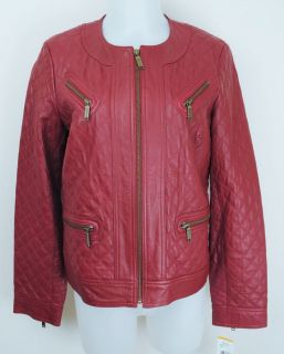 Anne Klein New York Red Quilted Leather Jacket S