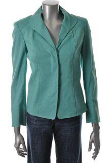 Anne Klein New York New Petite Jacket Green Linen PM