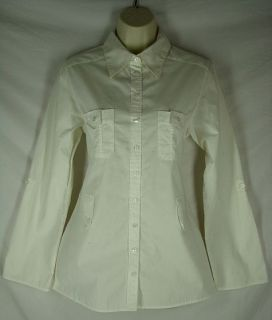 Size 2 M Anne Fontaine Off White Button Up Cotton Shirt Top Blouse