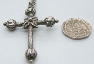 ANTIQUE EDWARDIAN STERLING SILVER FOB CHAIN NECKLACE & LARGE FILIGREE