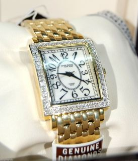 Anne Klein New York Womens Gold Plated Genuine Diamond Watch 12