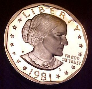 1981 s Anthony Dollar Gem Proof Cameo RARE Type 2 Clear s Mint Mark