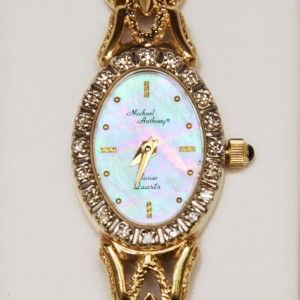 Vintage Michael Anthony Mother of Pearl Diamond Ladies 14k Gold Watch
