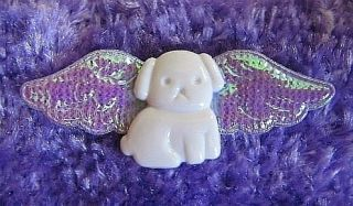 White Angel Dog Fairy Pearlescent Wing Pin Badge Brooch