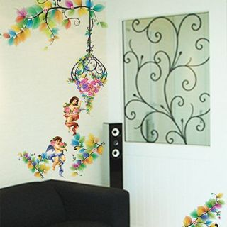 Eco 033 Angel Flower Kids Wall Decor Deco Sticker