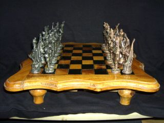Antique Style Hand Carved Walnut Wood Metal Napoleon Figures Chess Set