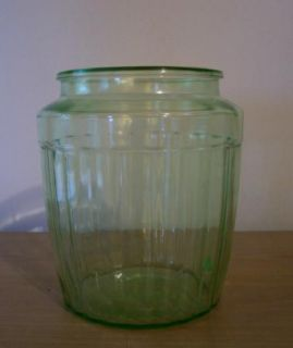 Vintage Green Depression Glass Hoosier Cookie Jar Ribbed Cannister