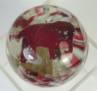 Antique Art Glass Paperweight Red Elephant Figurine Inside Vintage