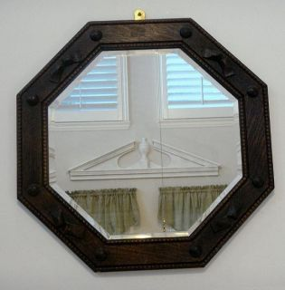 Antique European Oak Octogon Wood Frame Beveled Glass Mirror
