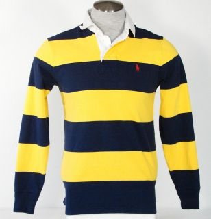 Ralph Lauren Long Sleeve Yellow Navy Blue Stripe Rugby Polo Shirt Mens