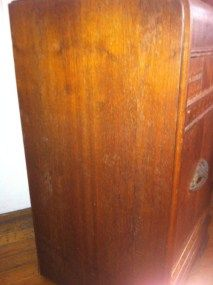 Vintage Antique Art Deco Waterfall Wood Nightstand End Table