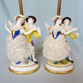 Antique Pair German Volkstedt Dresden Porcelain French Figurine Ormolu