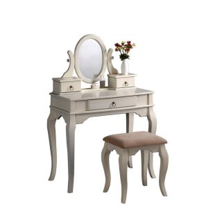 Vanity with Bench Mirror & Jewelry Boxes Makeup Table Antique White