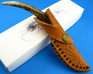 Stag Antler Tip Handle Damascus Blade Skinning Knife w/ Custom Leather