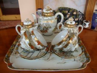 Good Antique Japanese Kutani Porcelain Tea Set and Tray C1900