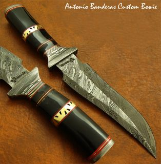 Antonio Banderas 1 OF A KIND CUSTOM DAMASCUS BOWIE KNIFE REAL BULL
