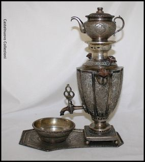 Antique Sterling Silver Samovar Teapot Tray Persia 19th Century