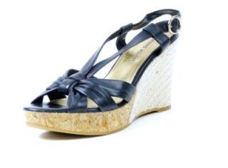 Antonio Melani Womens Shoes Wedge Sandals Navy 10