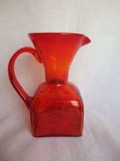 Vintage Blenko Tangerine Orange Glass Pitcher