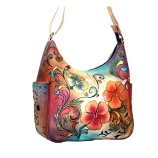 Anuschka Handpainted Leather Hobo Handbag Adjustable Strap Floral