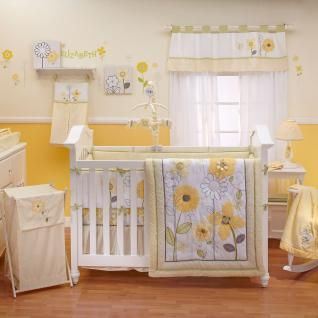 Yellow and White Flower Appliqued Nursery 8pc Baby Girl Bright Crib