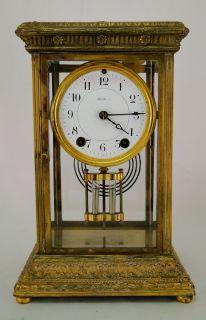 Antique Seth Thomas Gilt Spelter Fancy Case Crystal Regulator Clock