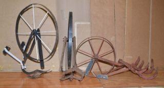 Antique Iron Wheel Garden Walk Behind Cultivator Farm Tool Parts or