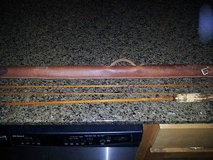 Antique Bamboo Fly Rod with Vintage Leather Case