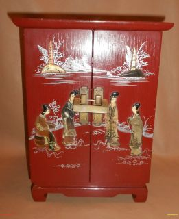 Antique Asian Chinese Japanese Wooden Red Lacquer Jewelry Box Stone