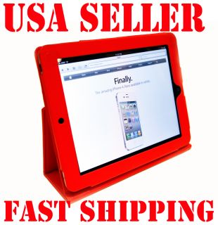 APPLE iPad LEATHER CASE COVER W/STAND FOR 3G WIFI   RED COLOR