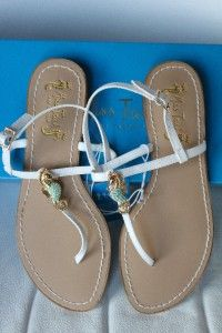 Miss Trish Capri Target White Seahorse Thong Sandals