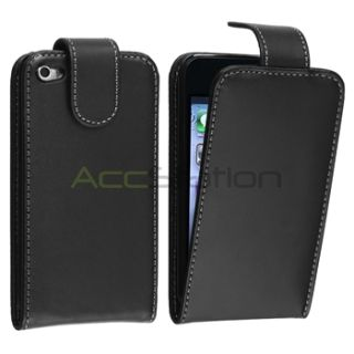 Black Leather Case Skin Cover Accessory Screen Film for iPod Touch 4th