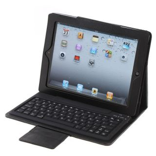 Bluetooth Keyboard Leather Case For Apple iPad 2 iPad 3 New iPad Black