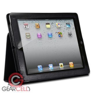 NEW BLACK LEATHER SMART CASE COVER FOR APPLE IPAD 3 2 3rd W / SCREEN