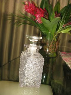 Antique Crystal Cut Glass Spirit Wine or Whisky Decanter w Stopper