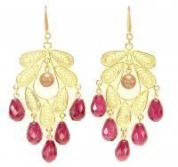 David Aubrey Michaela Gold Jade Chandelier Earrings Mauve Pink