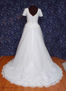 White Satin & Tulle Short Sleeve Wedding Dress 16