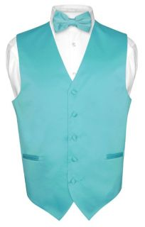 Mens Turquoise Aqua Blue Dress Vest Bowtie Set for Suit or Tuxedo